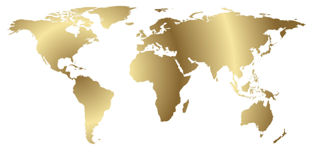 World map in decorative gold foil