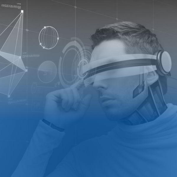 Man in futuristic tech glasses